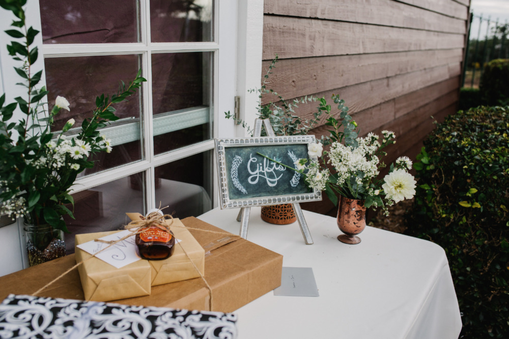 wedding gifts table with chalkboard sign