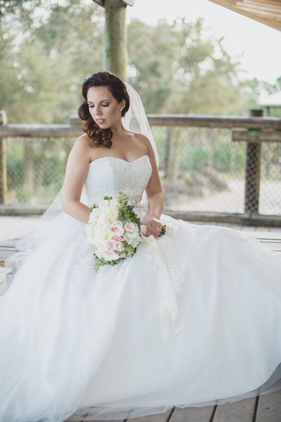 classic bride in strapless wedding dress