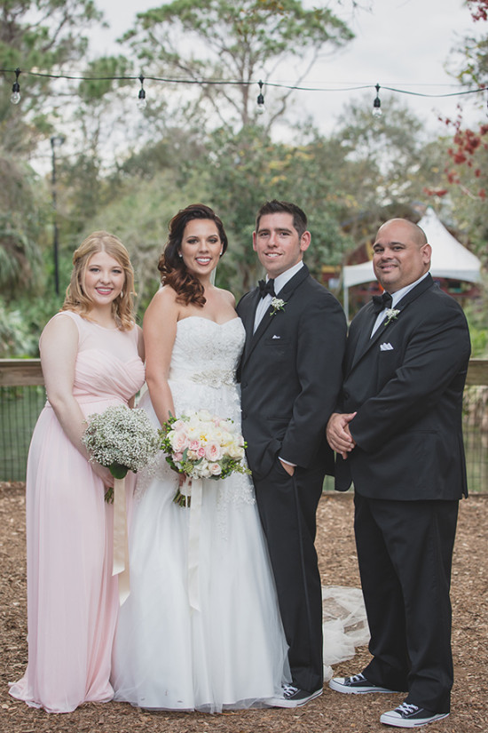 pink black and white wedding party