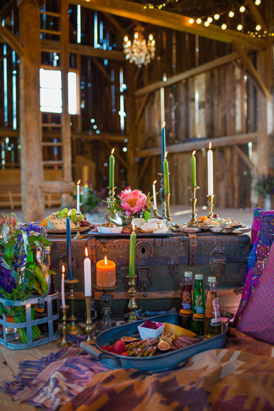 Boho barn reception decor