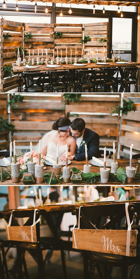industrial indie chic sweetheart table idea