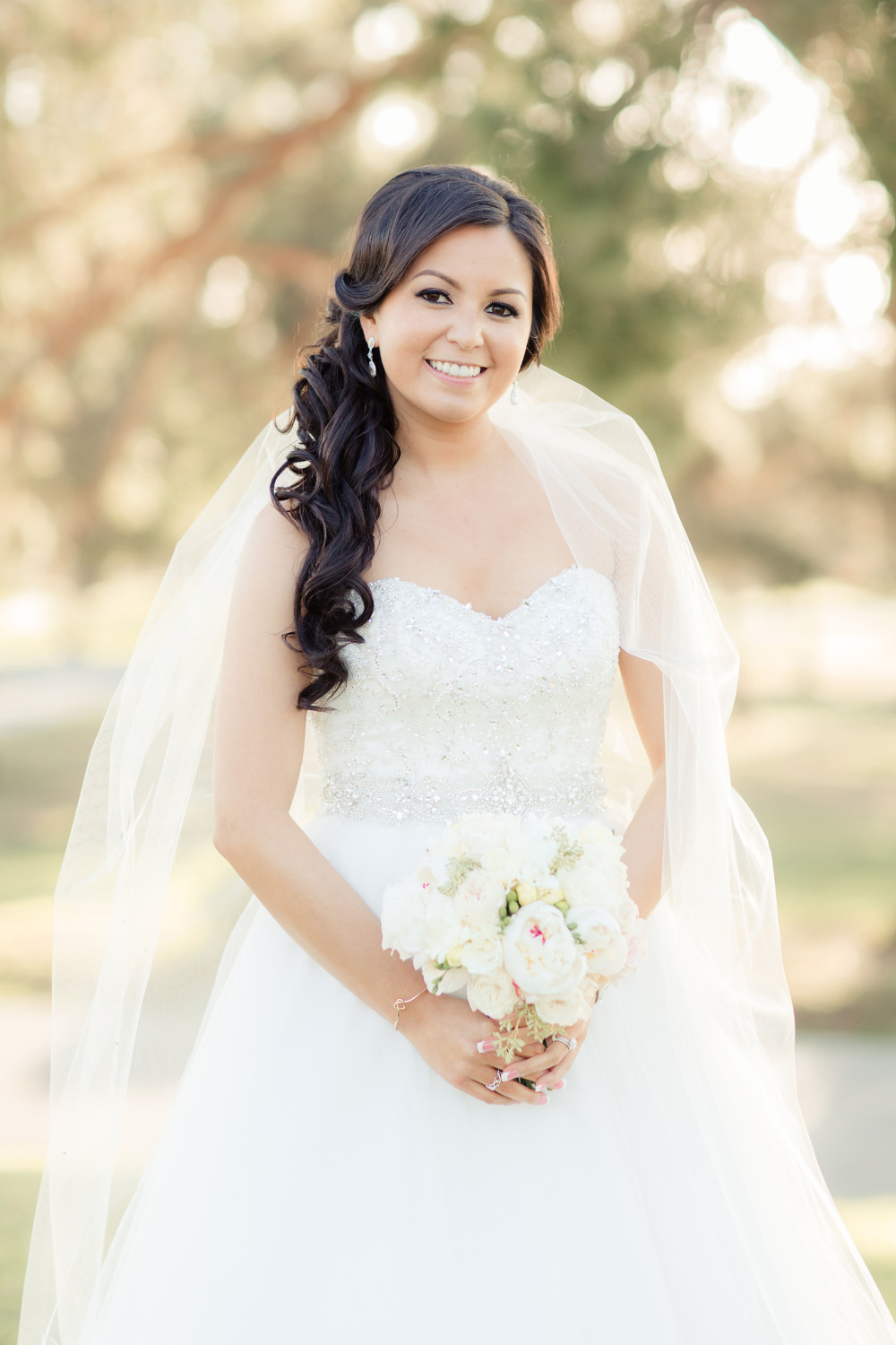 beautiful wedding look with beaded bodice gown