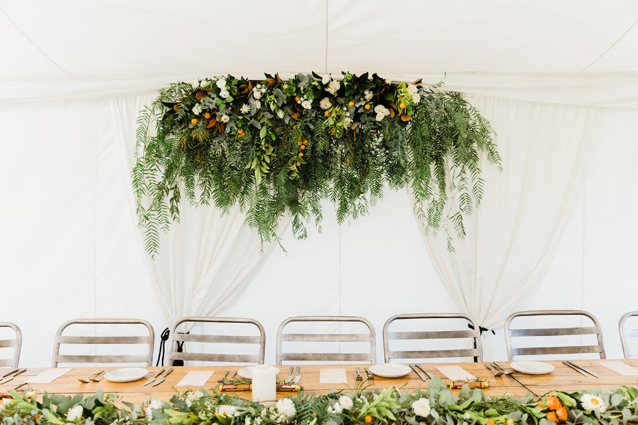 cascading floral table halo for the head table