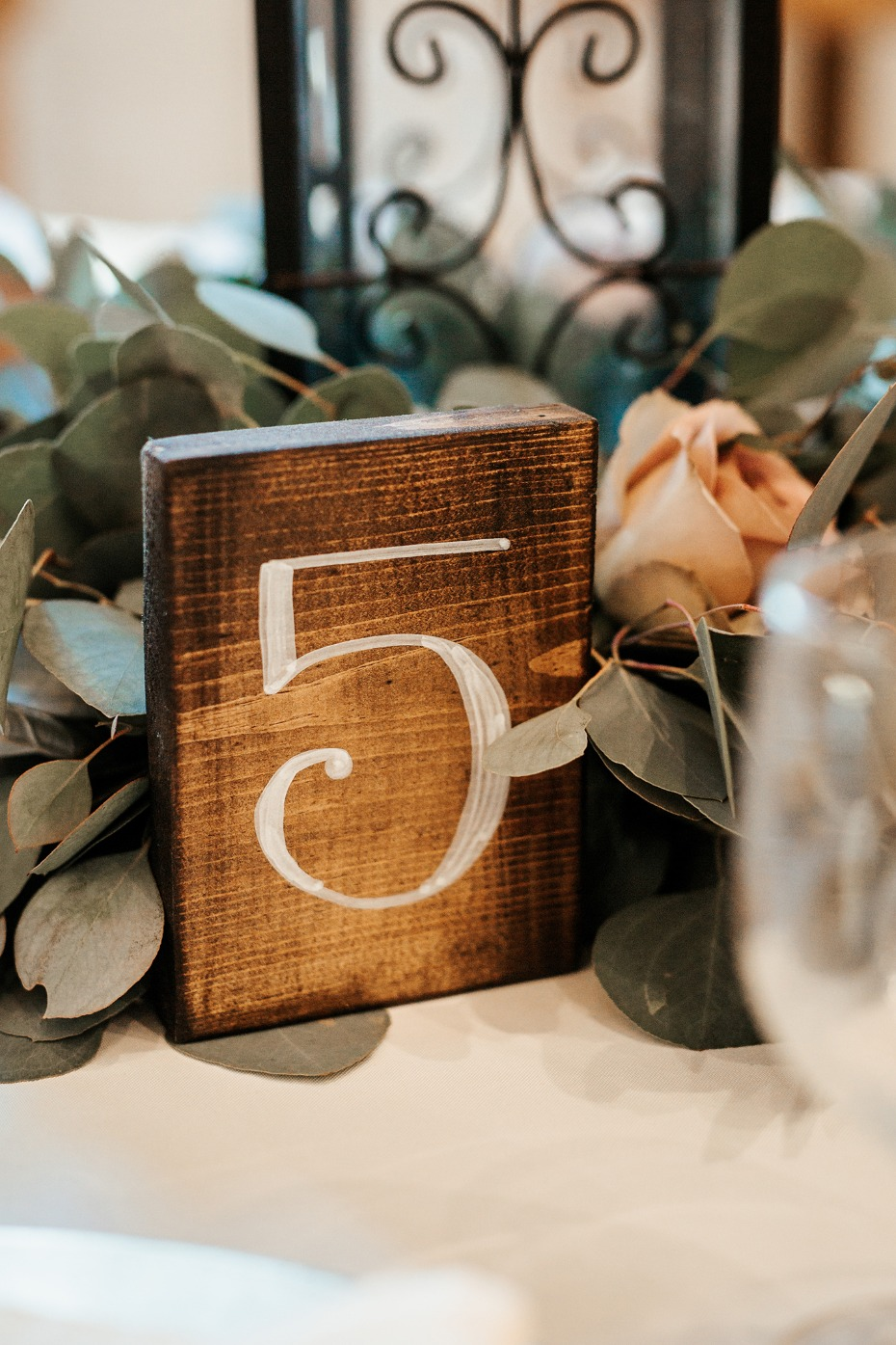 wood block table number