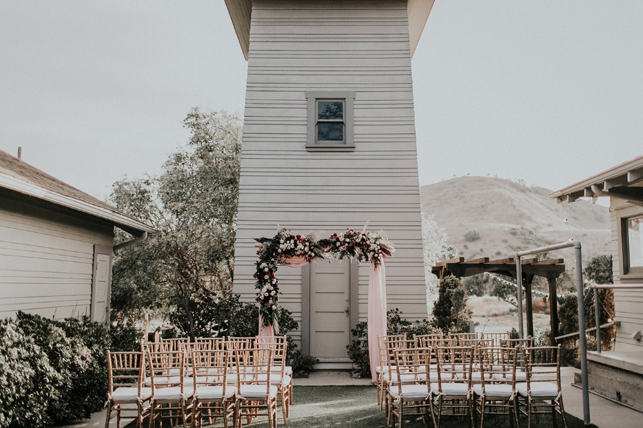 Gorgeous blush and burgundy ceremony