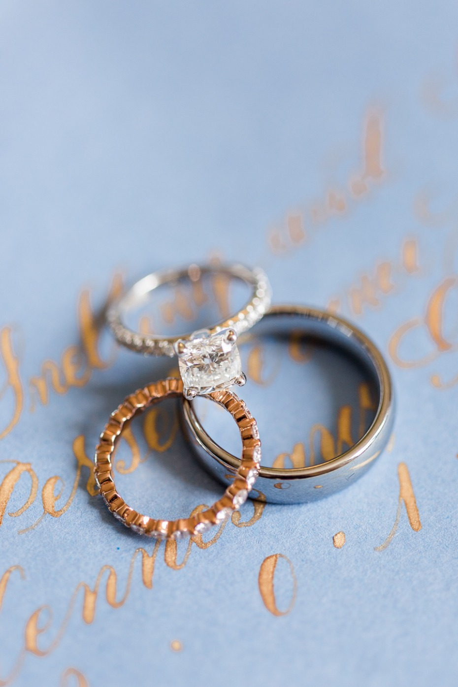 wedding rings for the bride and the groom