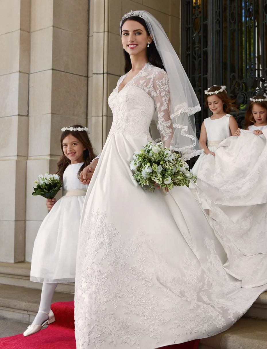 Long Sleeve Wedding Dress With Low Back by David's Bridal